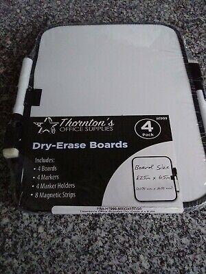 4 Thorntons Dry-erase 6 X 8 Dorm Locker Whiteboards Wmarker Magnet Strips