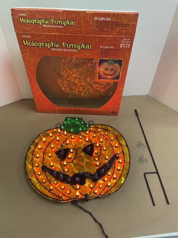 vintage Holographic Pumpkin  Window Decoration w/Box RARE Halloween
