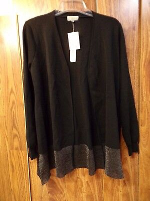 NWT JOSEPH A Open Front Sweater ~ Black Metallic Holiday Cardigan Womens XL