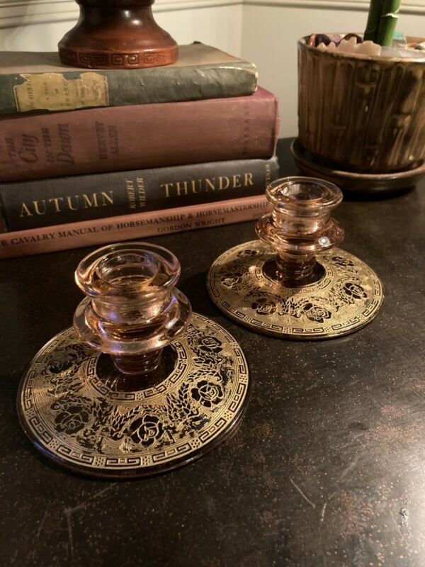 Cambridge Elegant Depression Glass Candlesticks, Gold Etched Rose Point