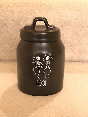 New Rae Dunn Black BOO Skeleton Halloween Small Canister