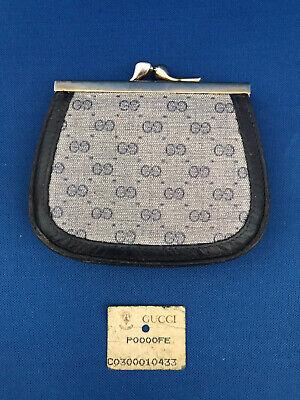 GUCCI Kisslock Coin Purse - Blue Monogram Canvas/Leather - Vintage 1980s