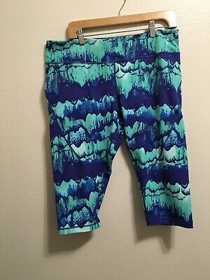 EEUC Zella XL Cropped Pants Leggings Workout Multi Color Print