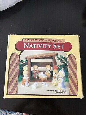 Nativity Set 9pc. Giftco Wood Bisque Porcelain Hand Painted 1970's Christmas