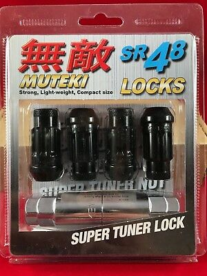 (MUTEKI SR48 4 WHEELS LOCK LUG NUTS SET 12X1.5 1.5 ACORN RIMS OPEN END BLACK)
