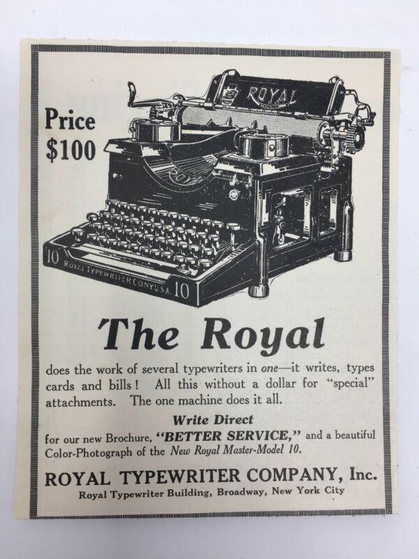 1915 Royal Model 10 Typewriter Print Ad Advertising Ephemera Original Magazine