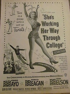 She's Working Her Way Through College, Virginia Mayo, Vintage Promotional Ad