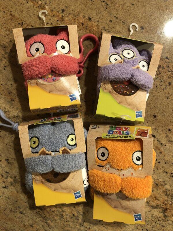 Lot Of 4 Ugly Dolls To Go Keychain Plush Toys Moxy Tray Babo Wage NEW Set