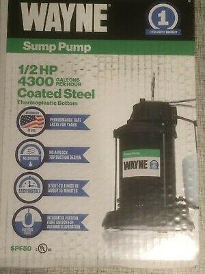 Wayne 12 Hp 4300 Gph Gal Per Hr Coated Steel Thermoplastic Reinforced Sump Pump