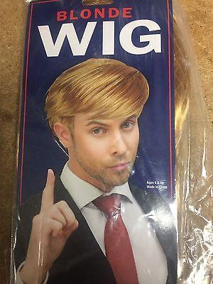 Donald Trump Wig Costume Blonde Comb Over Wig Mr. Billionaire Halloween Cosplay