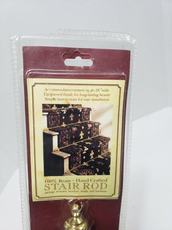 Lot of 10 New- 100% Brass Carpet Runner Stair Rods, Finials, Brackets  30.5 inch