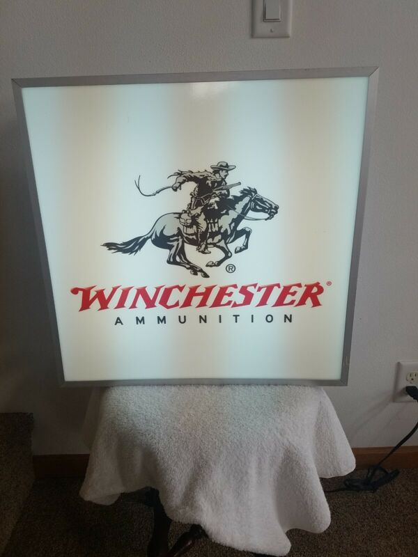 "Winchester Ammunition Lighted Sign 20"" X 20"" X 6"""