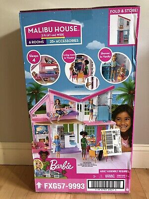 Barbie Malibu 2 Story 6 Room house Playset with over 25 Accessories New