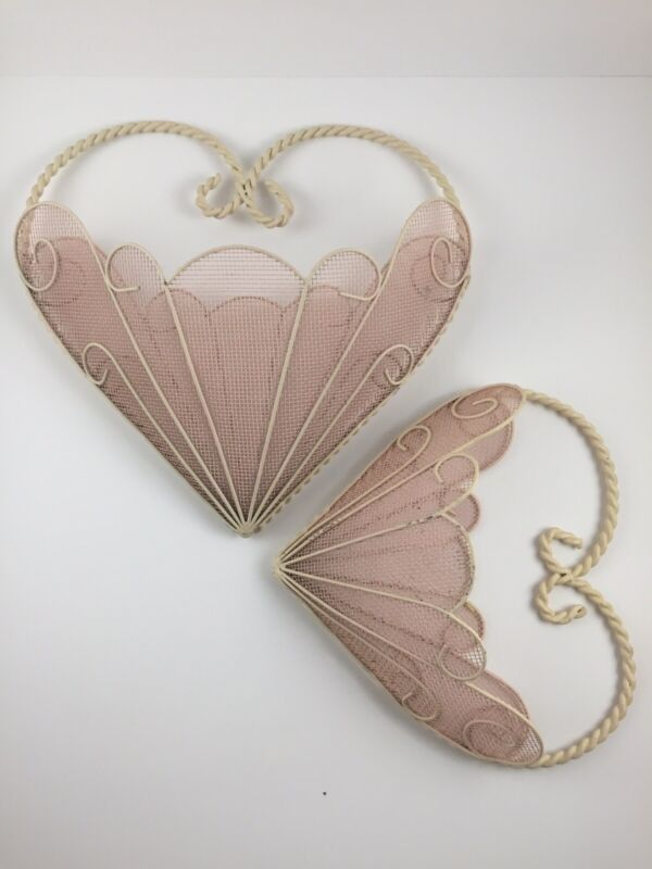 Vintage Heart Shaped Wire Mesh Wall Pockets (Pair)