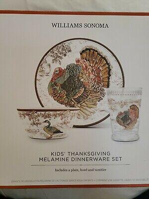 Thanksgiving Plates Dinnerware (Williams Sonoma Kids Dinnerware Set 3 Piece Thanksgiving Melamine Holiday)