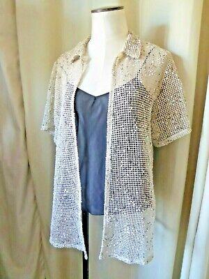 Top surchemise chemise vintage voile résille lin chiné manches courtes t 40