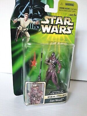 STAR WARS Figures Zam Wesell Sneak Preview Attack Of The Clones NEW SEALED