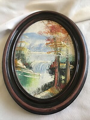 """Vintage Oval Framed Painting Of A Waterfall 5"""" x 6.5"""""""