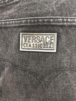 Rare Vintage Versace Classic V2, Black, Men's Denim Jeans Size 50 Silver Buttons