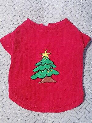 Red Christmas Tree with Lights Terrycloth Dog Sweater- Medium