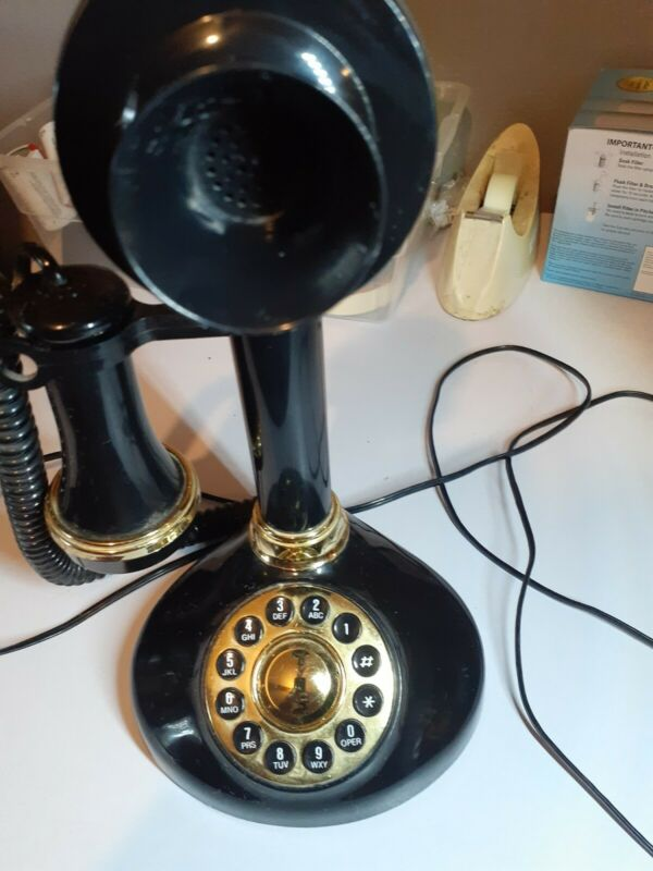 1900 phone candlestick telephone rotary black and gold