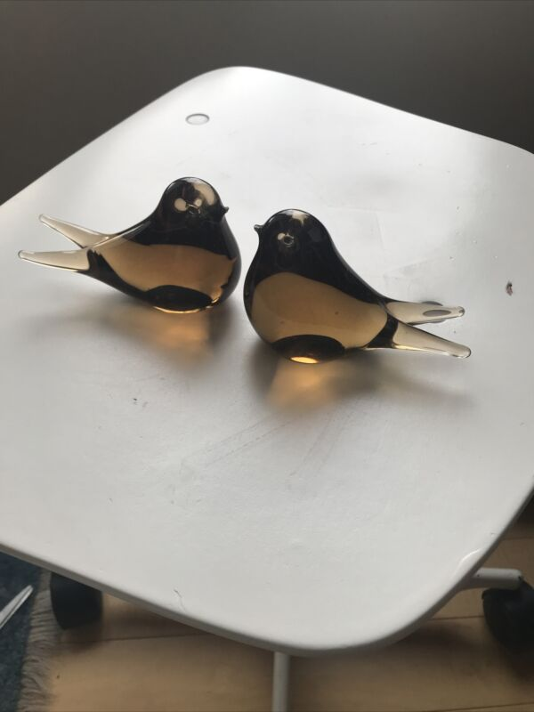Pair of Vintage Amber Glass Swallowtail Bird Figurines Murano? Swedish?
