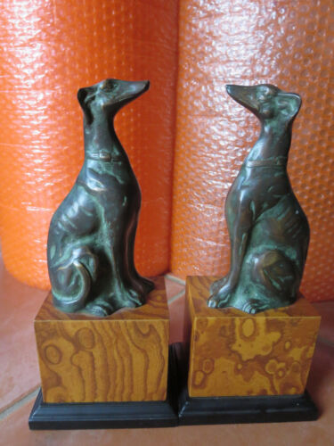 Vintage Bronze Greyhound  on Wood Block Bookends By Toyo