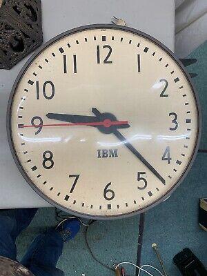 """IBM 19"""" Wall Clock Industrial Schoolhouse School Decor Vintage slave 1950s 5645"""