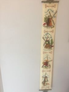 Antique Holland Needlepoint windmills wall hanging.