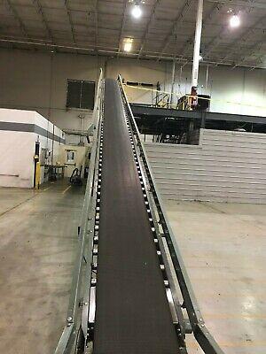 Hytrol 18 Width X 39ft Length Rubber Belt Incline Conveyor 2hp 230460v 3ph