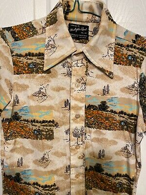 1970s Mens Shirt Styles – Vintage 70s Shirts for Guys VTG 1970's DISCO ERA Mens CHRISTOPHER RAND SHIRT Short Sleeve Sz Vintage Medium $29.99 AT vintagedancer.com