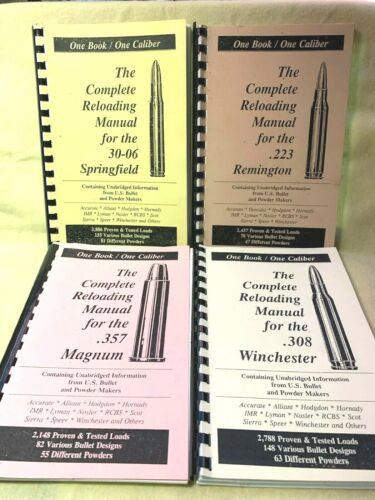 LOT OF 4- ONE BOOK/ONE CALIBER RELOADING MANUALS-.223, .30-06, .308, .357-USED