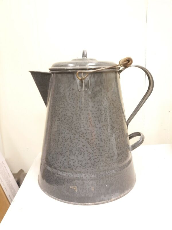 "Vintage Large 13"" Granite ware Gray Enamelware Coffee Pot Double Handle Cowboy"