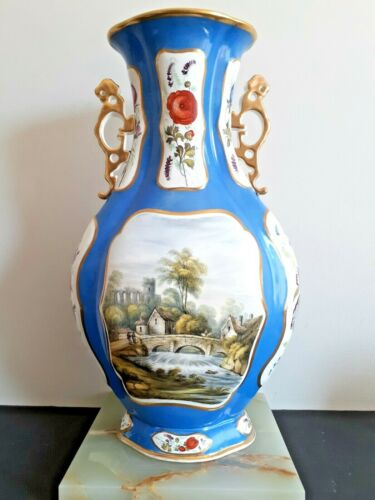 "Stunning Antique Davenport Floral Twin Handled Vase Early 19th C. 16"" H"