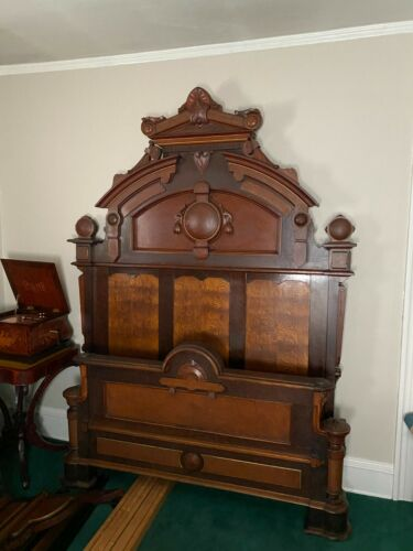 Victorian Walnut Highly Carved Bed and Marble Top Dresser 2 Piece Bedroom Set