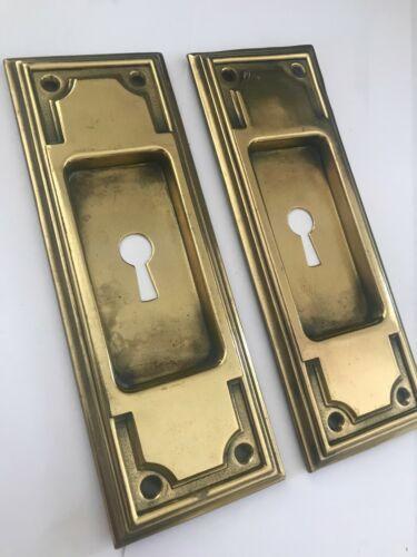 """2 OLD 6 1/4"""" MISSION ART CRAFT CRAFTSMAN BRASS POCKET BARN DOOR PULL PLATES"""