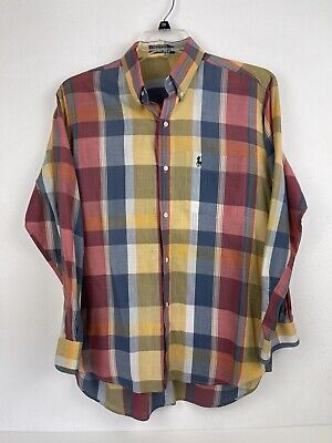 Vintage Polo Ralph Lauren Plaid Mens Shirt Large Long Sleeve Button Down