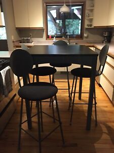 Bar height industrial style table and 4 chairs