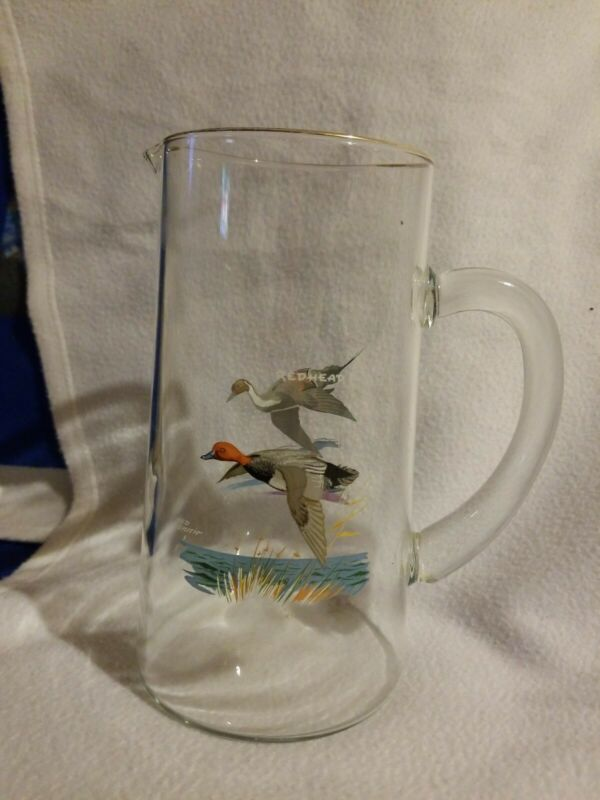 Ned Smith Waterfowl Glass Pitcher Barware Large Pintail Redhead Ducks