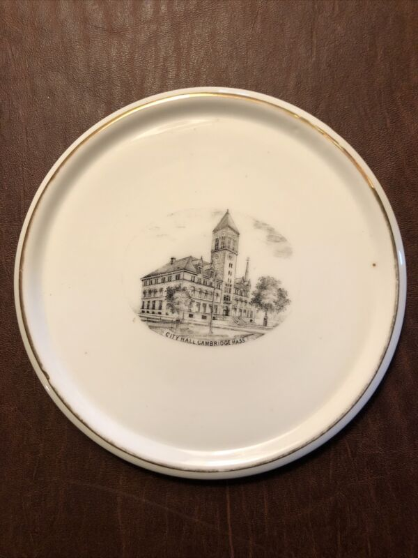 Antique Cambridge MA City Hall Porcelain Plate Transferware Germany L.A. Small