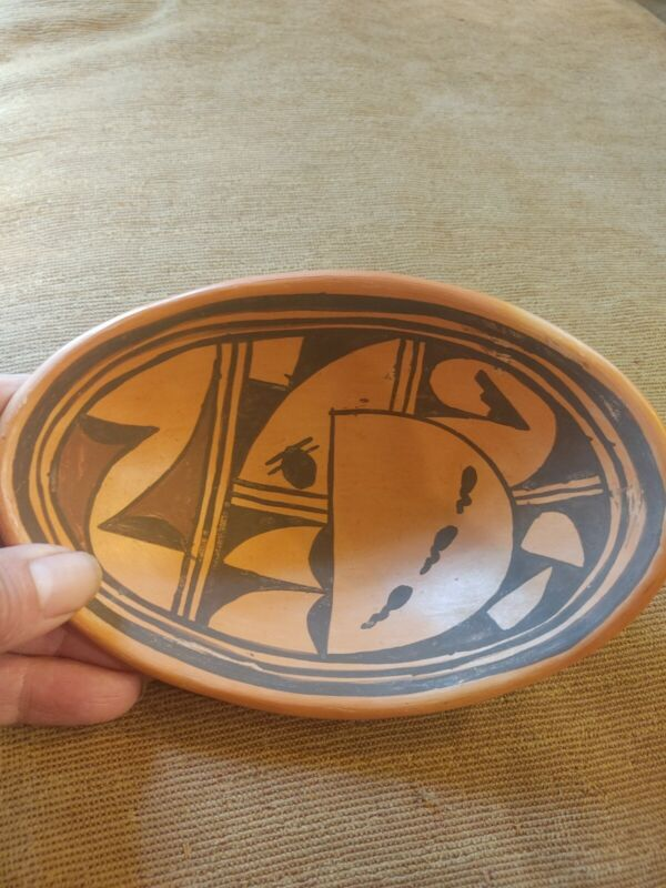 Old Unsigned Awesome Hopi Pueblo Pottery Bowl 6 3/4 long by 4 1/2 wide