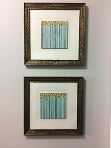 Pair of blue paintings - framed