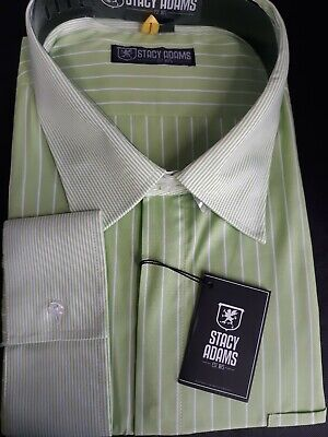 STACY ADAMS CELERY Men's Big-Tall FRENCH CUFF Dress Shirt SIZE 22  38/39  Big And Tall French Cuff Dress Shirts