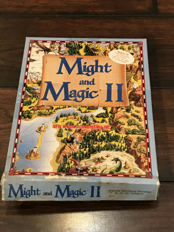 """Might and Magic II Apple II Game 5.25"""" disks with map, manual and box"""