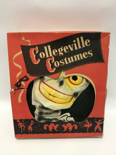 RARE Vintage 1953 Halloween Collegeville Costumes Skeleton Masquerade w/ Box