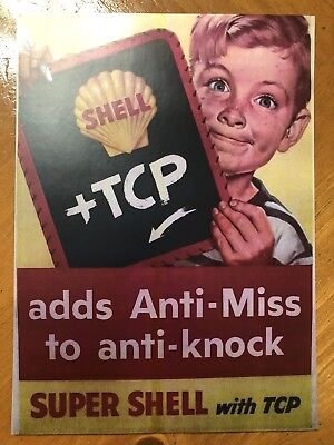 Tin Sign Vintage Shell + TCP Gasoline Motor Oil Adds Anti Miss To Anti Knock