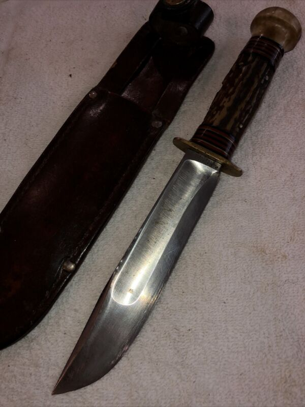 Early Marbles Ideal Knife Stag Handle Stag Pommel Original Sheath VG Condition