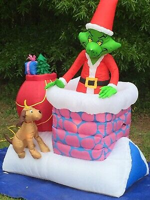 2007 GEMMY 6' Animated Grinch & Max Lighted Christmas inflatable Airblown Blowup Inflatable Christmas Lights