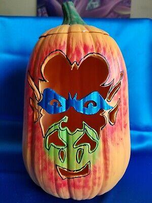 Large Hand Crafted Ceramic Jackolantern Carved Dracula Pumpkin w/bulbs