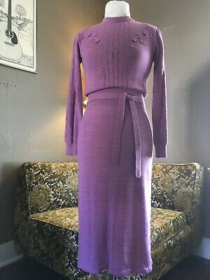 80s Dresses | Casual to Party Dresses 80's Vintage Raspberry Purple Long Sleeve Knit Midi Sweater Dress $40.00 AT vintagedancer.com